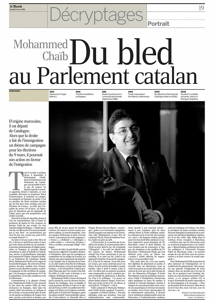 Le Monde - France - Barzilai - portrait - parlement catalant